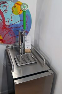 coffee kegerator closer up from above