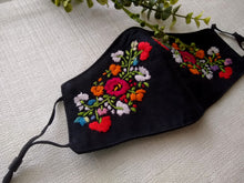 Load image into Gallery viewer, Artisan Embroidered Mask- Black