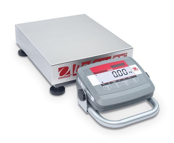 Ohaus D31P60BL5 DEFENDER 3000 LOW PROFILE Bench Scale, 132 g Capacity, g Readability