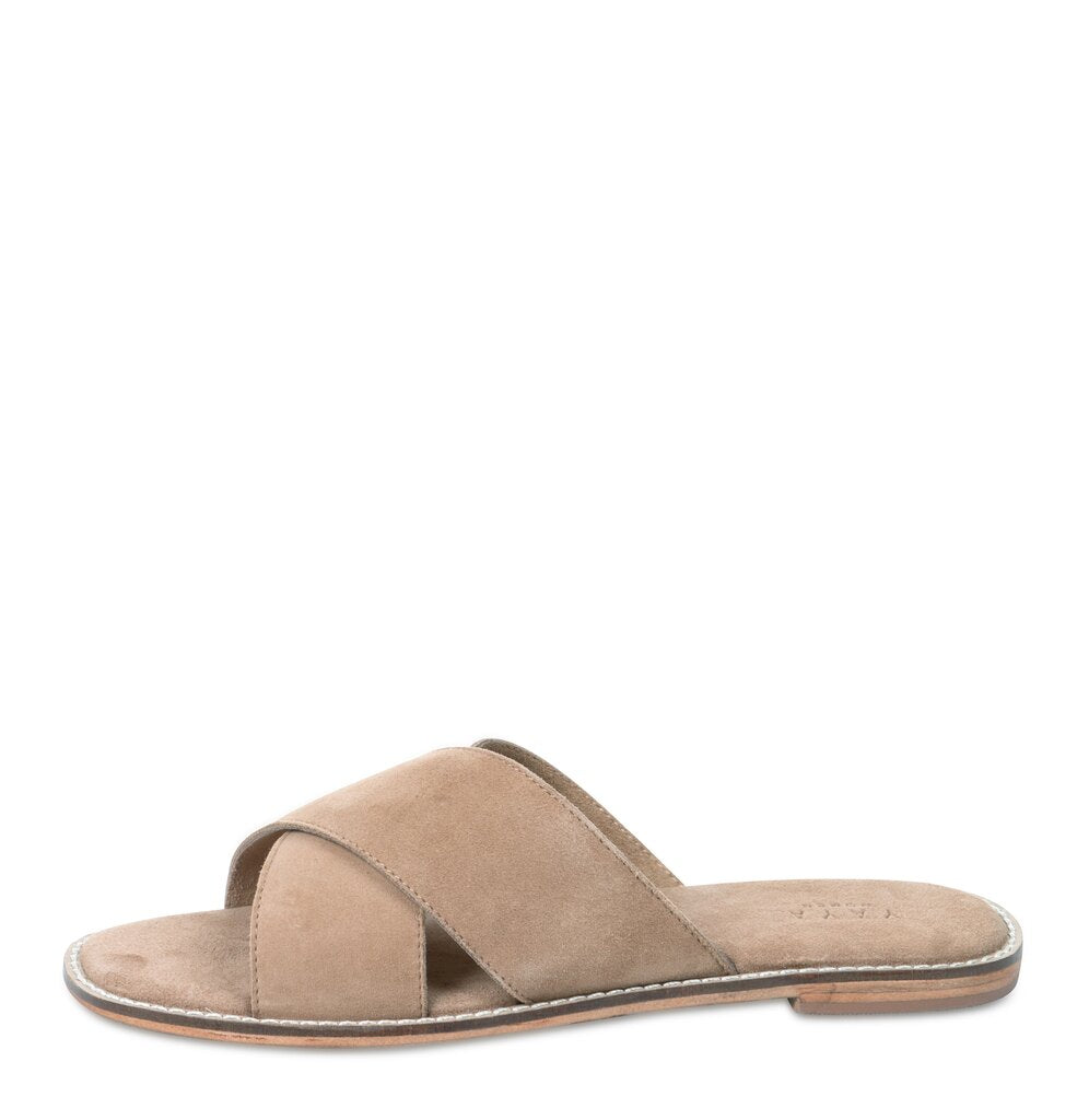 Yaya leather slipper with cross over Croissant
