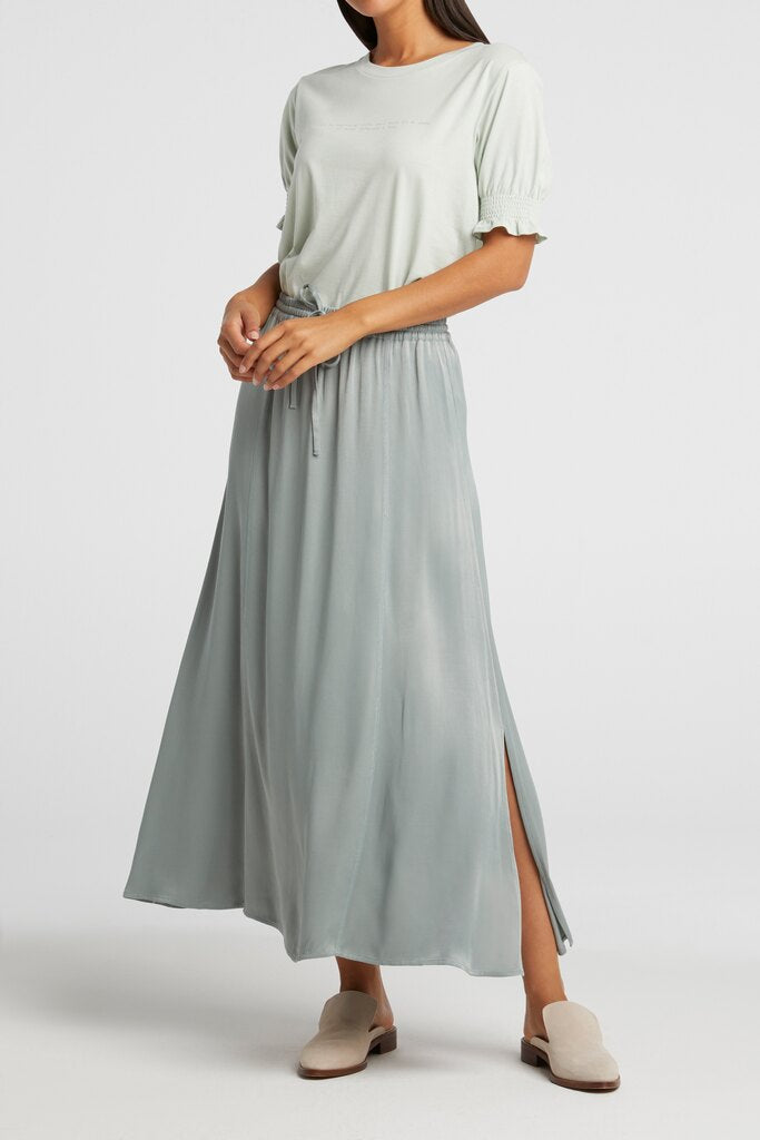 Yaya long satin skirt with elastic waist concrete blue