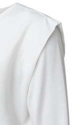 Yaya shoulder pleat long sleeve top off white