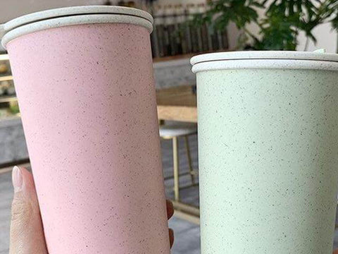 light pink and green reusable cups