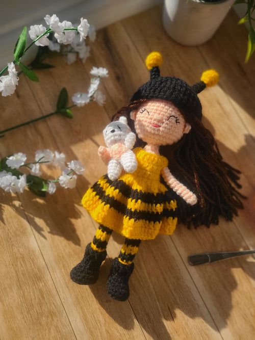 Amigurumi Bumble Bee Girl Crochet Doll, by Forever Dream Dolls