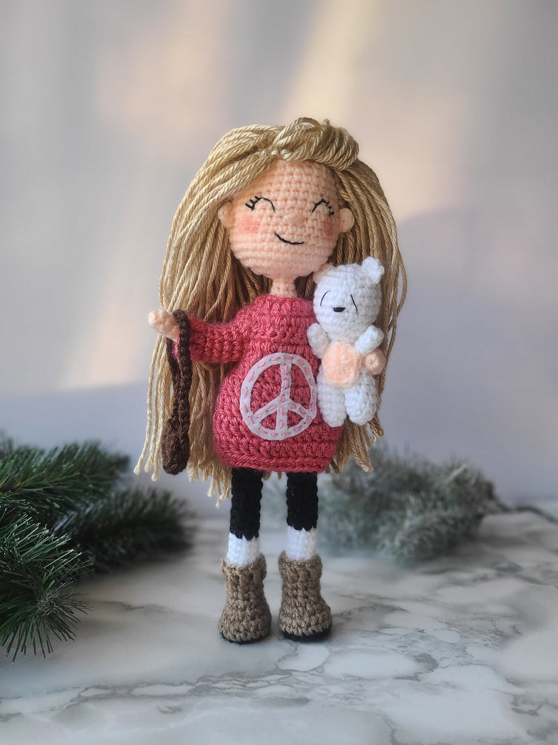 Amigurumi Sweater Dress Girl Doll by Forever Dream Dolls