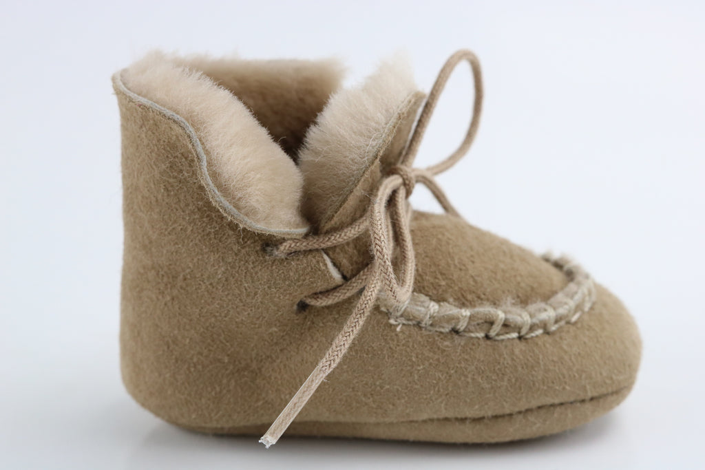 Louis & Lola Sheepskin Baby Slippers - Biscuit
