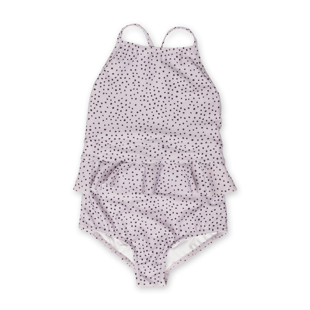 Dot Dot Swim Peplum One-Piece - Spotted Lilac