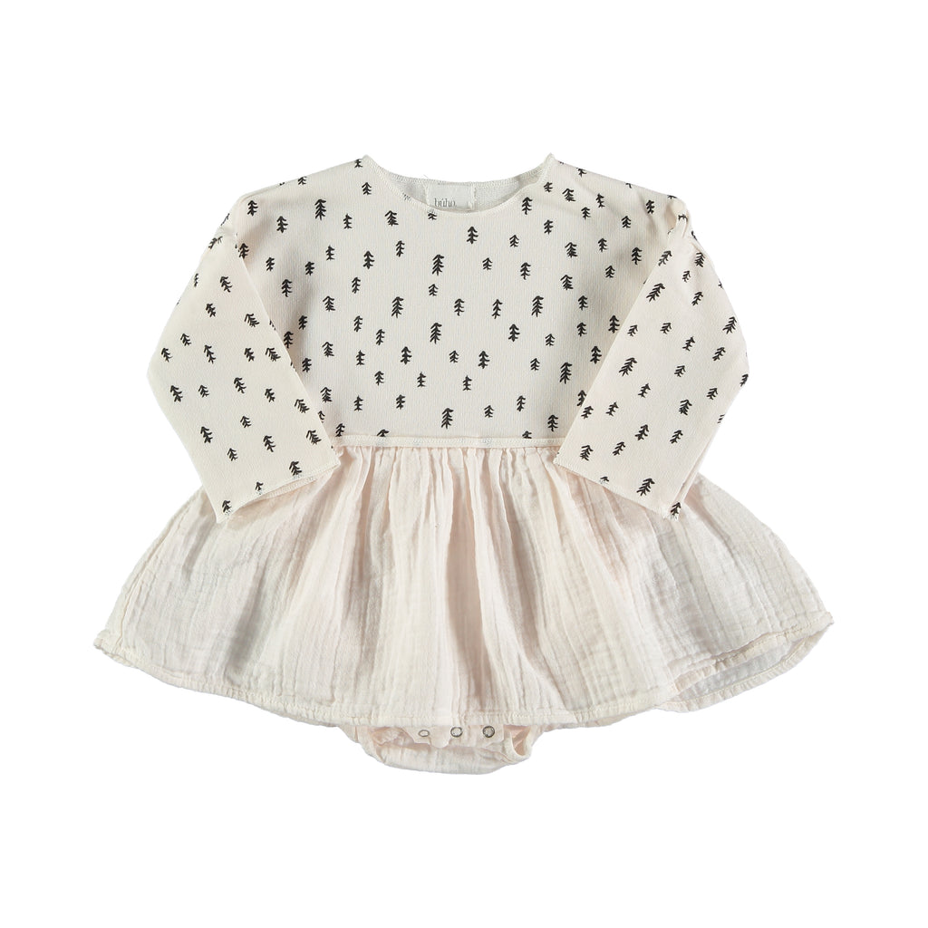 Búho Mar Baby Dress/Bodysuit - Talc - last one 18 months