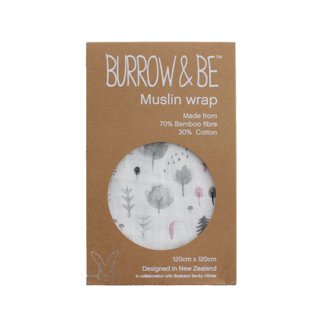 Burrow & Be Bamboo/Cotton Muslin Wrap - Watercolour Woodland Grey/Vintage Pink