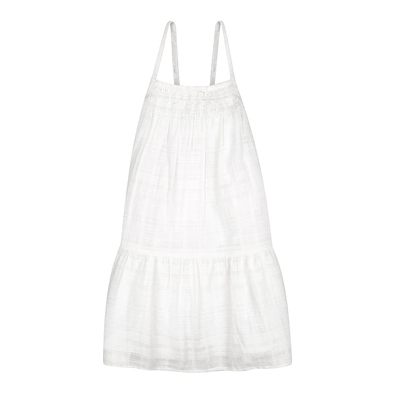 Minouche Celeste Dress - White Textured Cotton