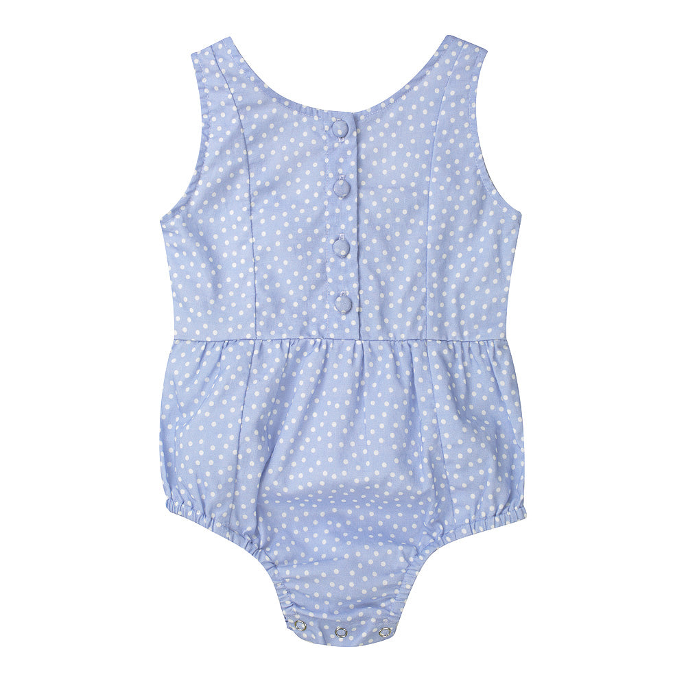 Minouche Evie Playsuit - Blue Spot Cotton Voile