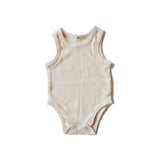 Goat Milk Baby Sleeveless Onesie - Pointelle Rose