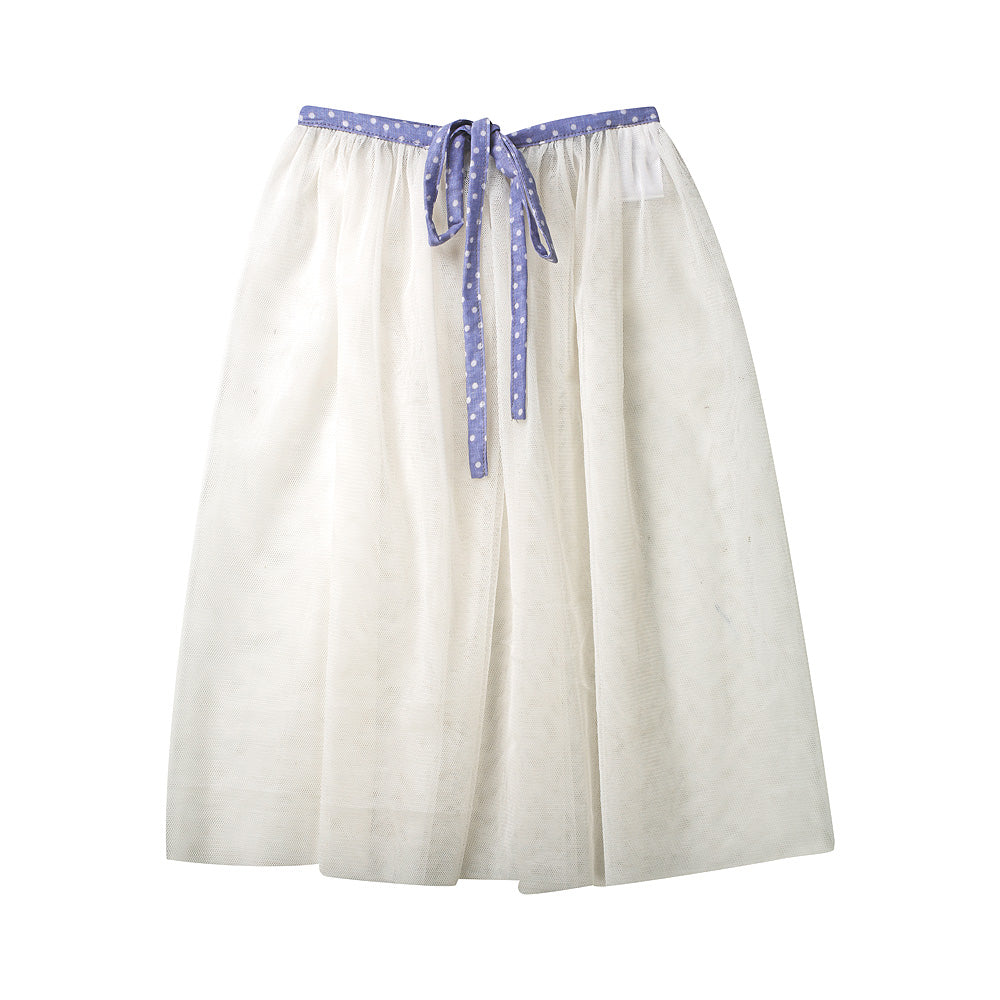 Minouche Tulle Playskirt - White With Blue Tie