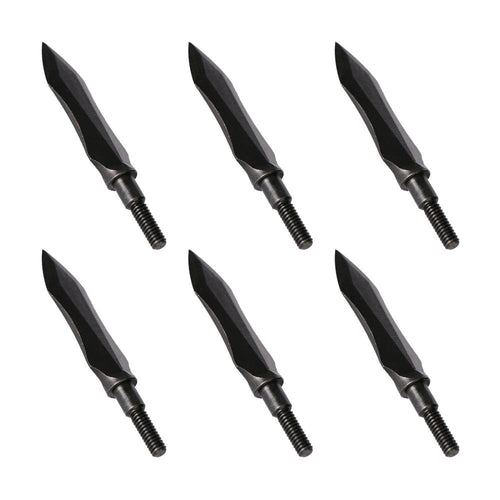 6x 150-grain Black Traditional Screw-in Broadheads