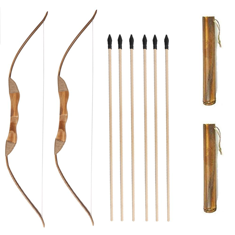 2 Packs 39 inch Kids Wood Bamboo Bows Arrows Kits