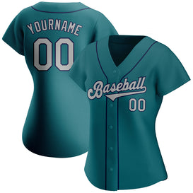 Custom Aqua Gray-Navy Authentic Baseball Jersey