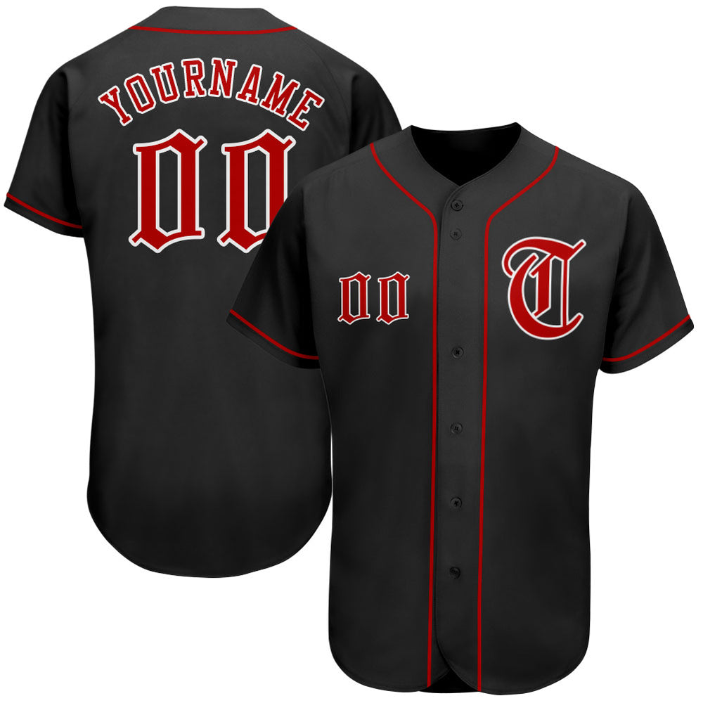 Custom Black Red-White Authentic Baseball Jersey