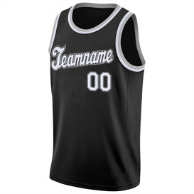 Custom Black White-Silver Gray Round Neck Rib-Knit Basketball Jersey