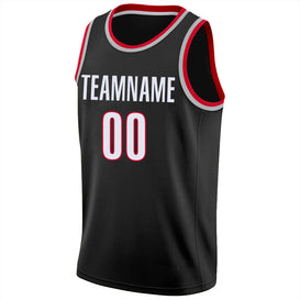 Custom Black White-Red Round Neck Rib-Knit Basketball Jersey