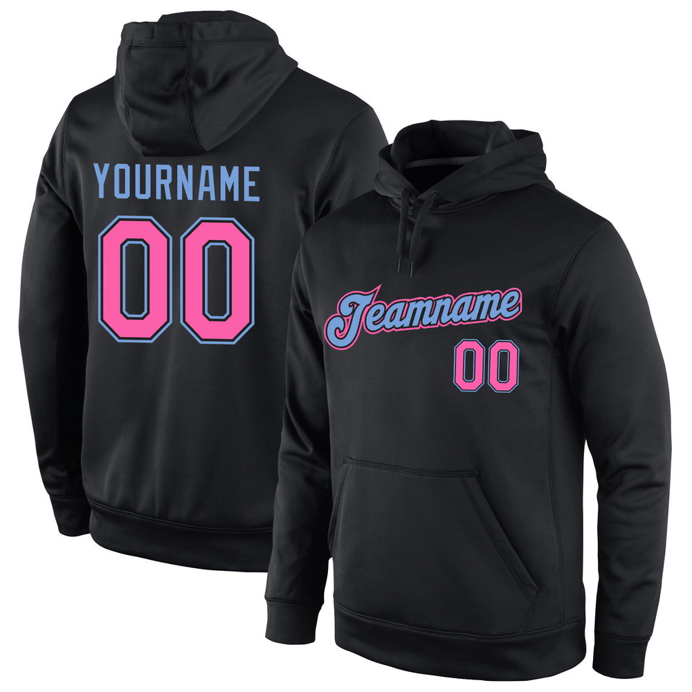 Custom Stitched Black Pink-Light Blue Sports Pullover Sweatshirt Hoodie