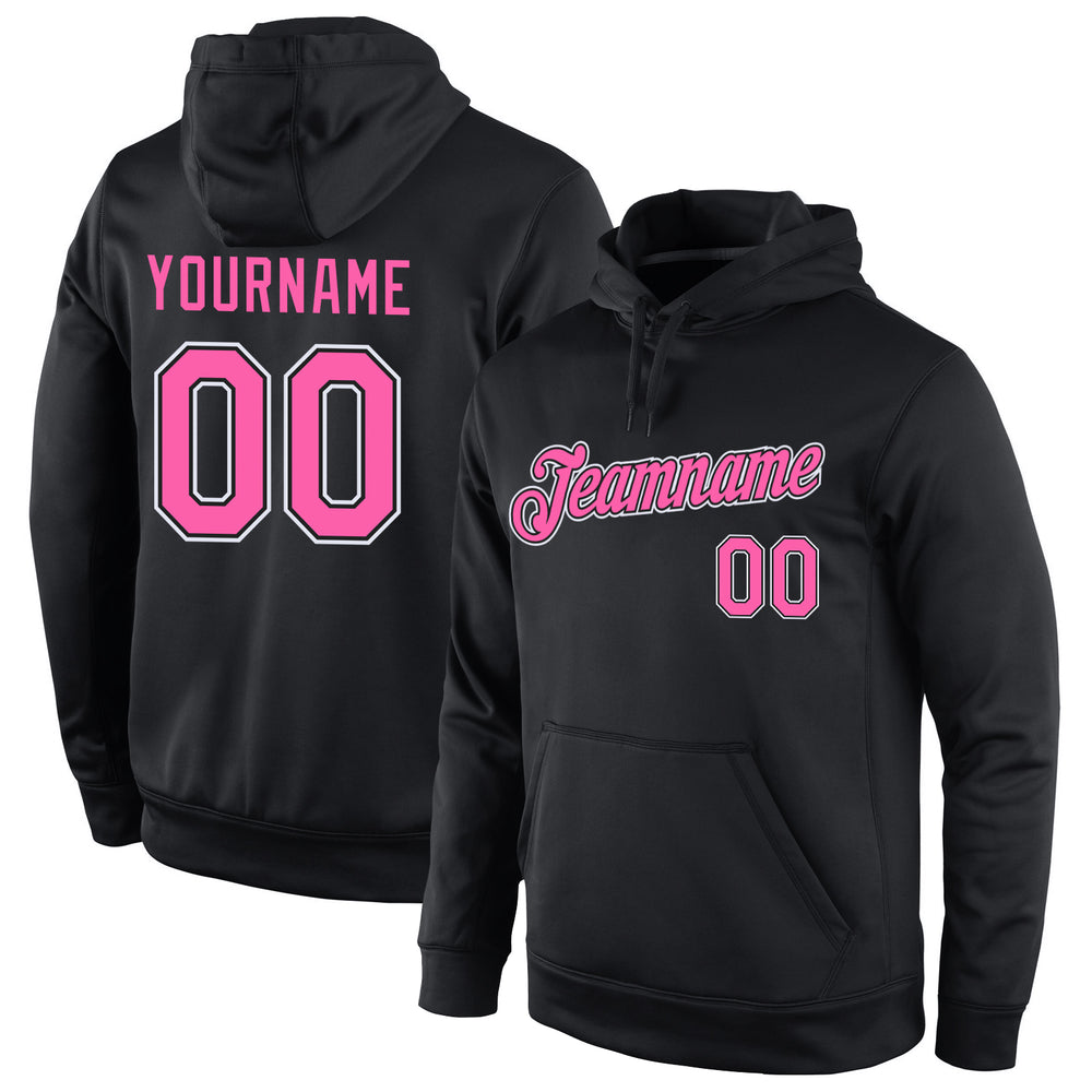 Custom Stitched Black Pink-White Sports Pullover Sweatshirt Hoodie