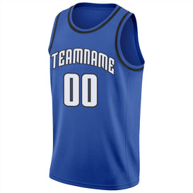 Custom Blue White-Black Round Neck Rib-Knit Basketball Jersey