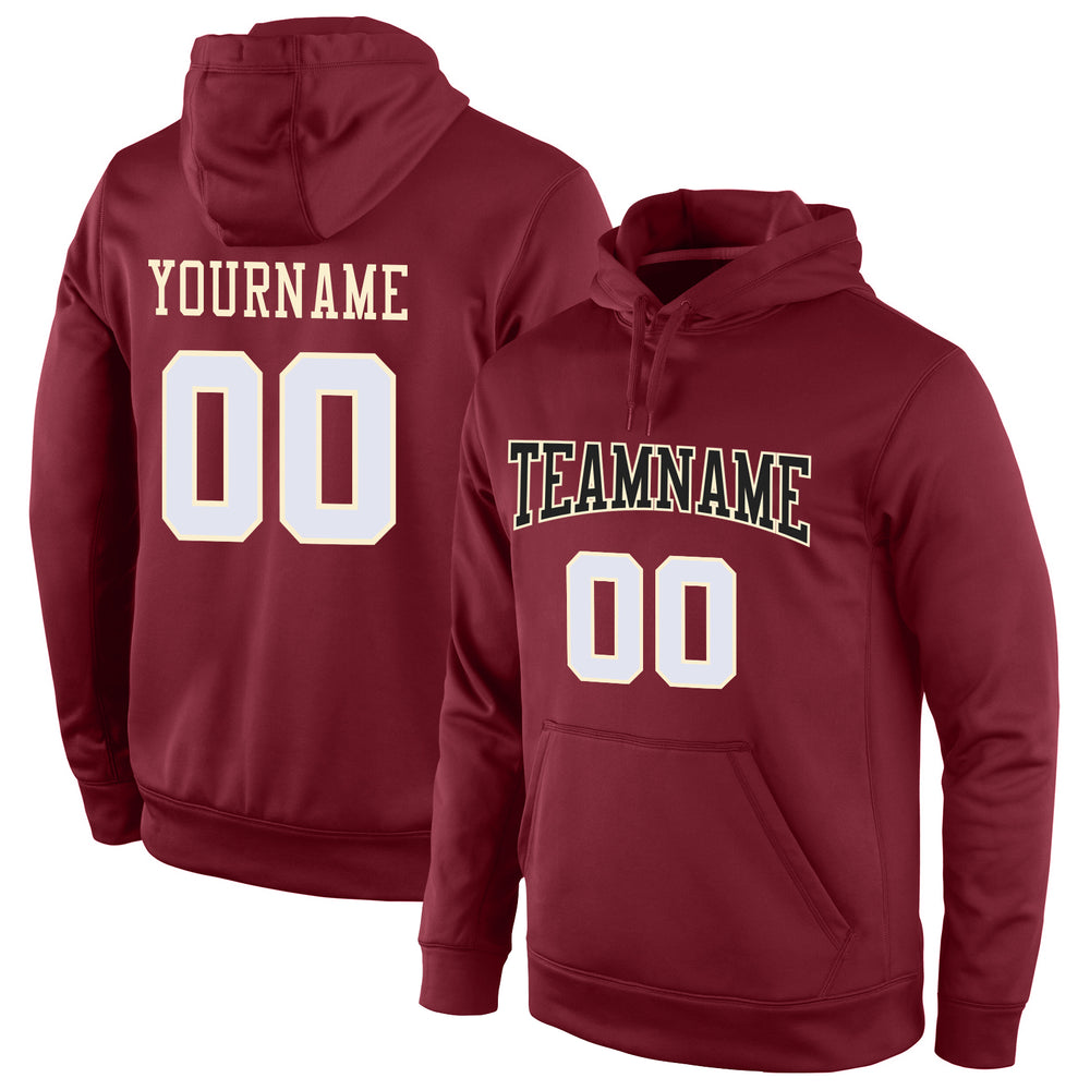 Custom Stitched Burgundy White-Cream Sports Pullover Sweatshirt Hoodie