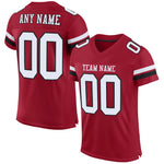 Custom Cardinal White-Black Mesh Authentic Football Jersey