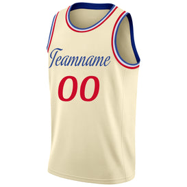 Custom Cream Red-Royal Round Neck Rib-Knit Basketball Jersey