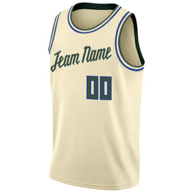 Custom Cream Hunter Green-Royal Round Neck Rib-Knit Basketball Jersey