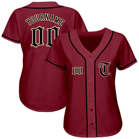 Custom Crimson Black-Khaki Authentic Baseball Jersey