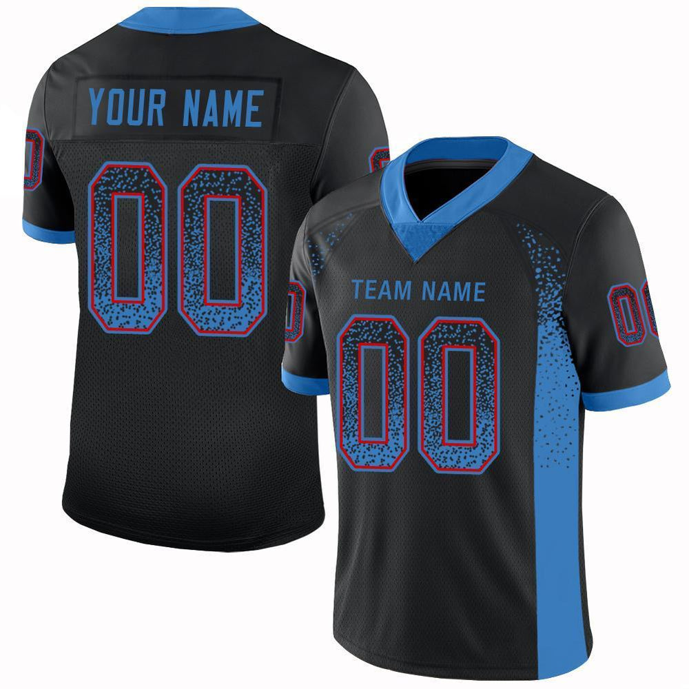 Custom Black Powder Blue-Red Mesh Drift Fashion Football Jersey