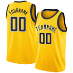 Custom Gold Navy-White Round Neck Rib-Knit Basketball Jersey