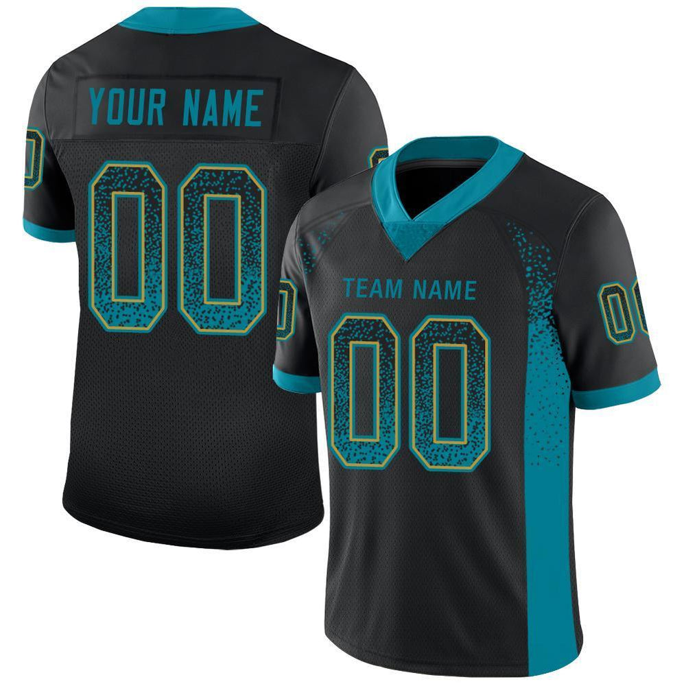 Custom Black Teal-Old Gold Mesh Drift Fashion Football Jersey