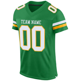 Custom Kelly Green White-Gold Mesh Authentic Football Jersey