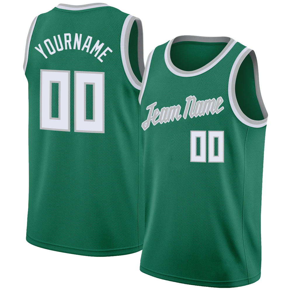Custom Kelly Green White-Silver Gray Round Neck Rib-Knit Basketball Jersey