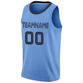 Custom Light Blue Navy-Light Blue Round Neck Rib-Knit Basketball Jersey