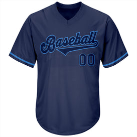 Custom Navy Navy-Powder Blue Authentic Throwback Rib-Knit Baseball Jersey Shirt