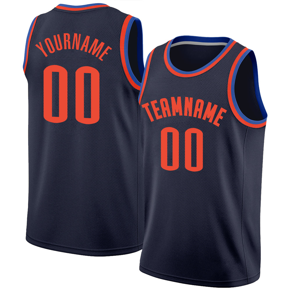 Custom Navy Orange-Blue Round Neck Rib-Knit Basketball Jersey