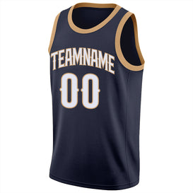 Custom Navy White-Old Gold Round Neck Rib-Knit Basketball Jersey