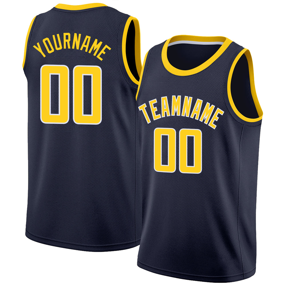 Custom Navy Gold-White Round Neck Rib-Knit Basketball Jersey