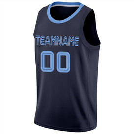 Custom Navy Light Blue-Navy Round Neck Rib-Knit Basketball Jersey