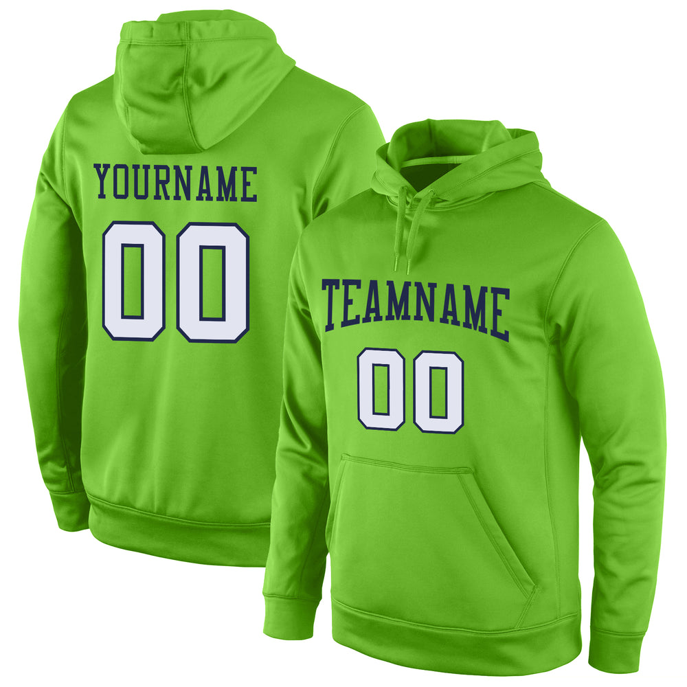 Custom Stitched Neon Green White-Navy Sports Pullover Sweatshirt Hoodie
