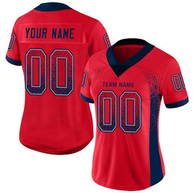 Custom Scarlet Navy-Gray Mesh Drift Fashion Football Jersey
