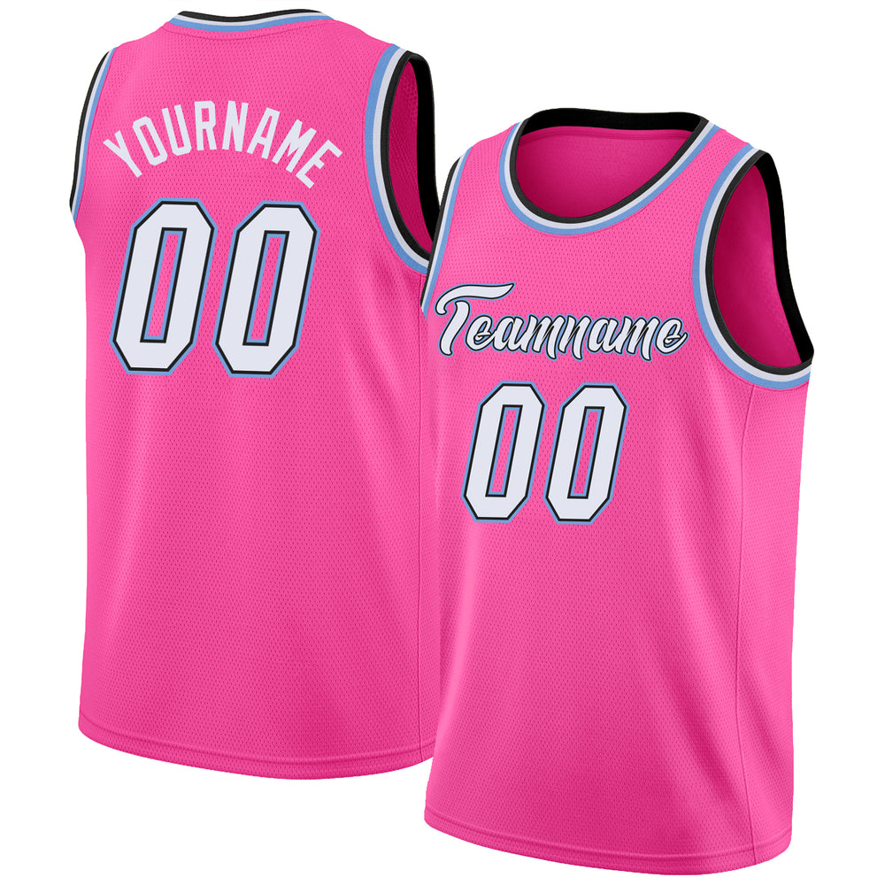 Custom Pink White-Black Round Neck Rib-Knit Basketball Jersey