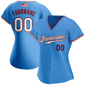 Custom Powder Blue White-Red Authentic American Flag Fashion Baseball Jersey