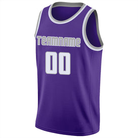 Custom Purple White-Silver Gray Round Neck Rib-Knit Basketball Jersey