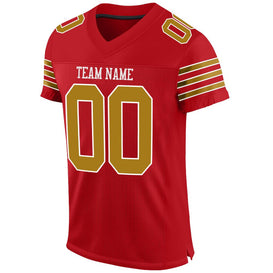 Custom Red Old Gold-White Mesh Authentic Football Jersey