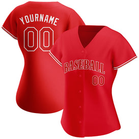 Custom Red Red-White Authentic Baseball Jersey