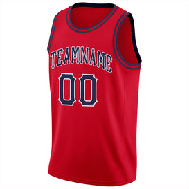 Custom Red Navy-White Round Neck Rib-Knit Basketball Jersey